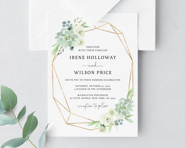 Succulent Wedding Invitation Template, Printable Wedding Invitation Suite, Watercolor Succulent and Gold Wedding Invitation, Templett, W40B