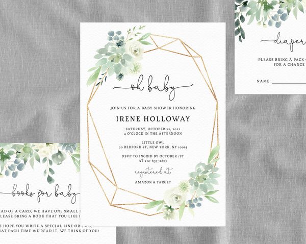 Succulent Baby Shower Invitation Template Printable Greenery Instant Download Templett B40