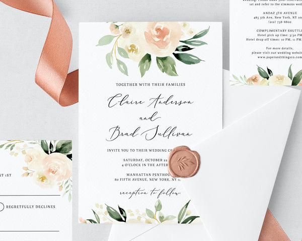 Blush & Ivory Floral Wedding Invitation Template, Printable Wedding Invitation Suite, Peach Floral Wedding Invitation Set, Templett, W41