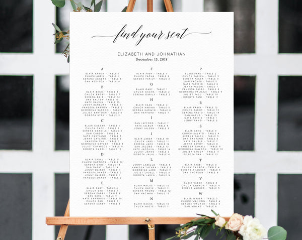 Alphabetical Wedding Seating Chart Template, Seating Chart Printable, Table Chart, Seating Board, Wedding Sign, Templett, W02