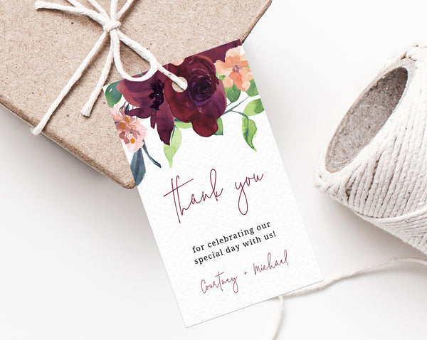 Burgundy Wedding Favor Tag Template, Thank You Tag, Wedding Favor Label, Boho Wedding Gift Tags, Floral Favor Tag Printable, Templett, W32