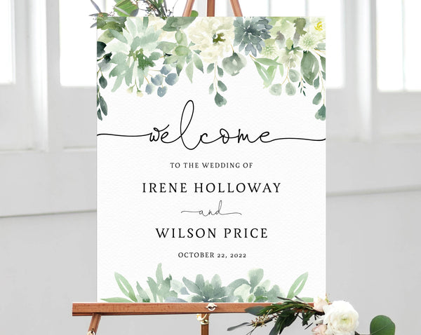 Succulent Wedding Welcome Sign Template, Welcome to the Wedding Printable, Welcome Board, Instant Download, Templett, W40
