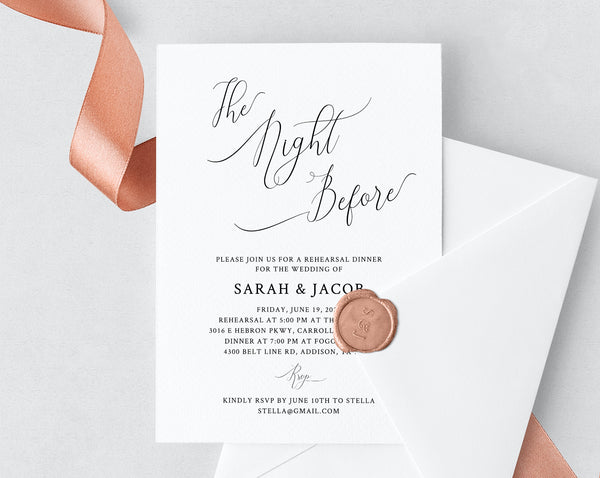 Rehearsal Dinner Invitation Template Printable Wedding Editable The Night Before Invite Templett W31