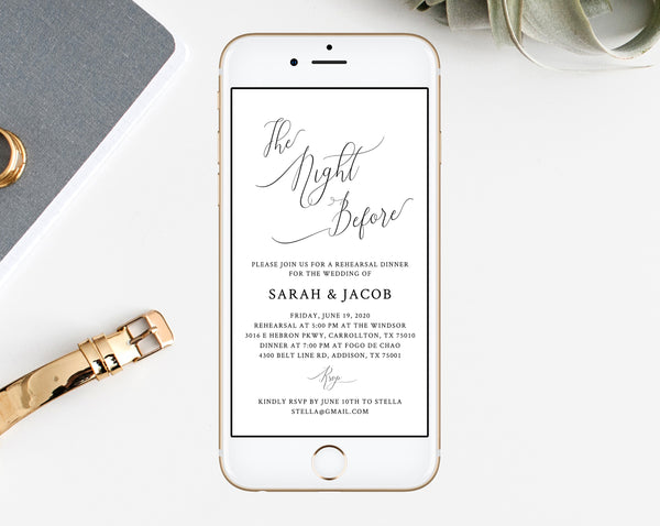 Rehearsal Dinner Invitation Template, Electronic Wedding Rehearsal Invitation, The Night Before Rehearsal Phone Invite, Templett, W31