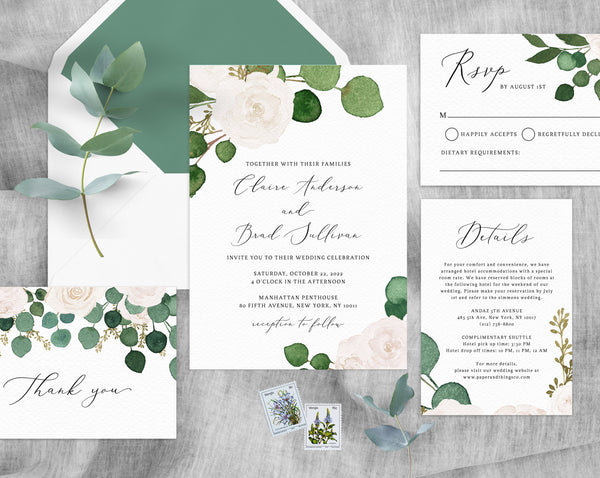 Eucalyptus & White Floral Wedding Invitation Template, Printable Wedding Invitation Suite, Greenery Wedding Invite Set, Templett, W42