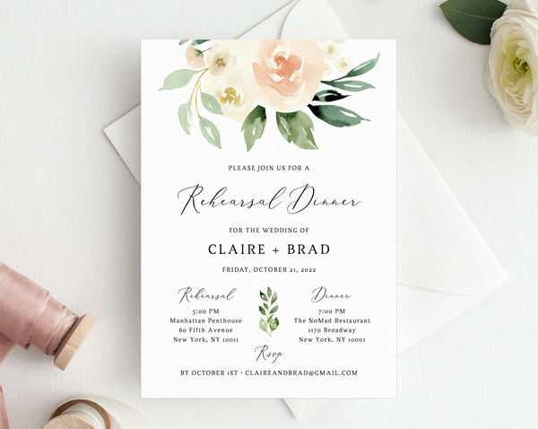 Peach Floral Rehearsal Dinner Invitation Template, Blush Wedding Rehearsal Invitation, Printable The Night Before Invite, Templett, W41