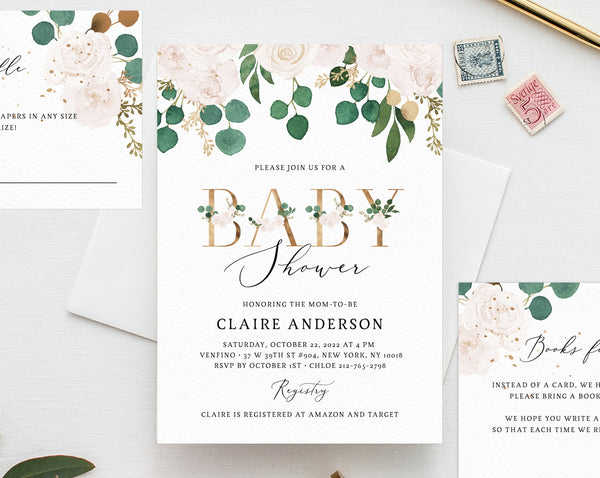 Greenery White Floral Baby Shower Invitation Template Printable And Gold Templett B42