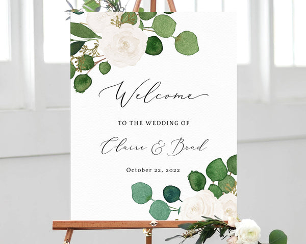 Eucalyptus & White Floral Wedding Welcome Sign Template, Welcome to the Wedding Printable, Welcome Board, Instant Download, Templett, W42