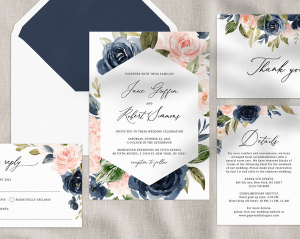 Navy & Blush Wedding Invitation Template, Printable Wedding Invitation Suite, Navy Wedding Invitation Set, Floral Wedding, Templett, W34