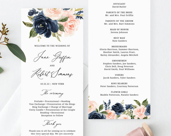 Navy & Blush Wedding Program Template, Printable Wedding Program, Editable Navy Floral Wedding Program, Instant Download, Templett, W34
