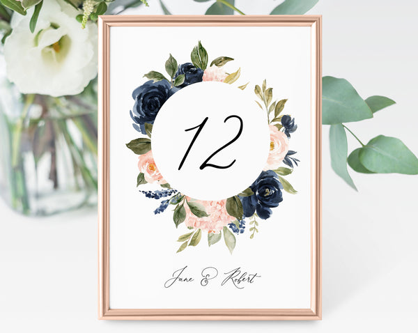 Navy & Blush Floral Wedding Table Number Template, Printable Navy Wedding Table Numbers, Floral Table Numbers Card Template, Templett, W34