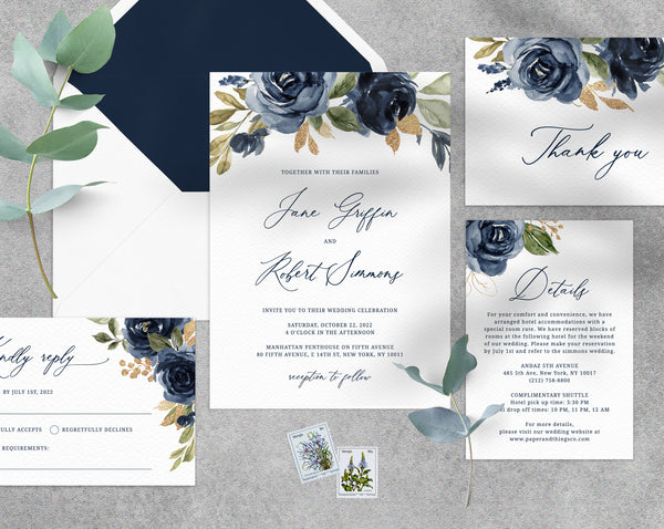 Navy and Gold Wedding Invitation Template, Navy and Gold Printable Wedding Invitation, Navy Floral Wedding Invitation Set, Templett, W27