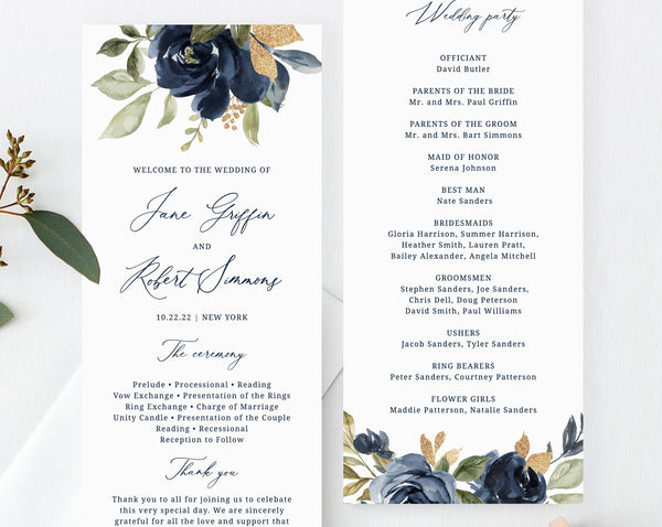 Navy & Gold Wedding Program Template, Printable Wedding Program, Editable Navy Floral Wedding Program, Instant Download, Templett, W27