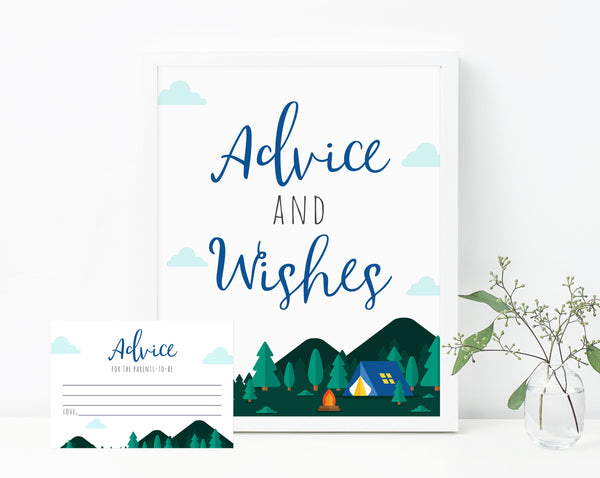 Adventure Begins Baby Shower Advice and Wishes Sign, Adventure Themed Advice Cards Template, Camping Themed Baby Shower Sign, Templett, B06