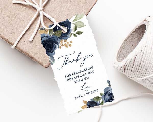 Navy & Gold Wedding Favor Tag Template, Thank You Tag, Wedding Favor Label, Wedding Gift Tags, Floral Favor Tag Printable, Templett, W27
