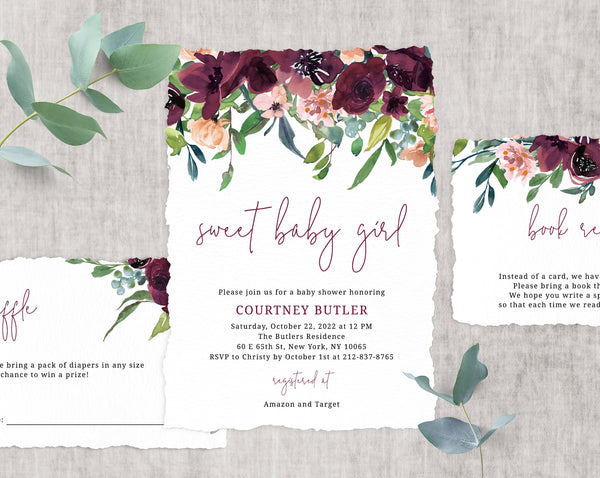 Burgundy Baby Shower Invitation Template, Printable Floral Baby Shower Invitation, Baby Shower Invitation, Baby Girl, Templett, B32