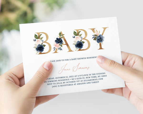 Navy & Blush Baby Shower Invitation Template, Printable Floral Baby Shower Invitation, Instant Download, Templett, B34