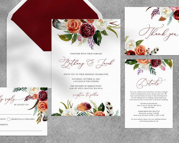 Boho Wedding Invitation Template, Printable Wedding Invitation Suite, Burgundy Wedding Invitation Set, Templett, W43