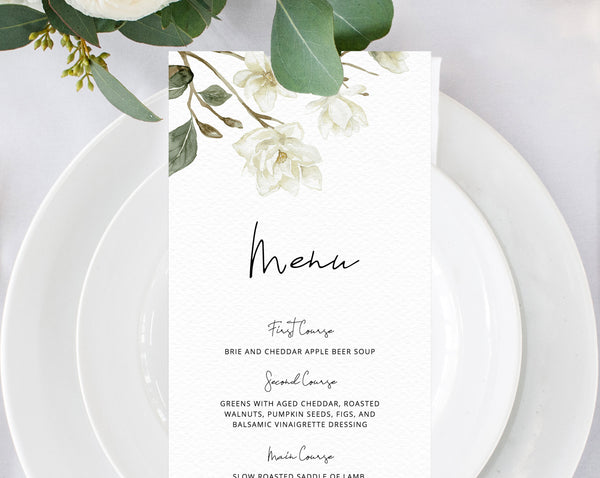 Magnolia Wedding Menu Template, Printable White Floral Menu, Editable Wedding Menu, DIY Wedding Menu, Instant Download, Templett, W35
