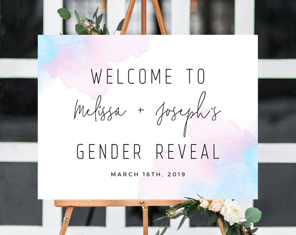 Welcome Sign Template, Gender Reveal Welcome Sign, Printable Gender Reveal Sign, Watercolor Blue or Pink Welcome Sign, Templett, B01