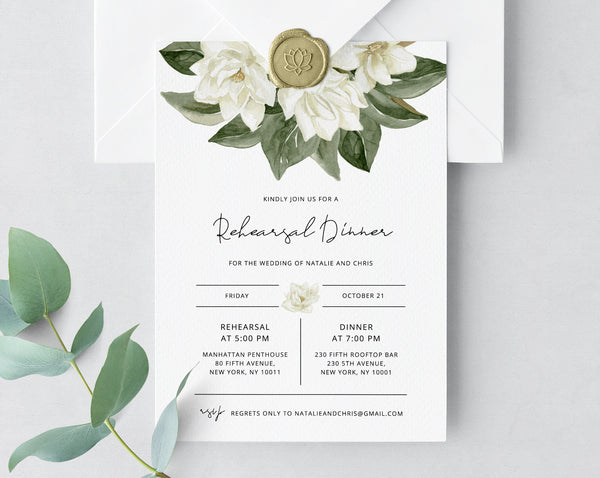 Rehearsal Dinner Invitation Template, Magnolia Wedding Rehearsal Invitation, Printable The Night Before Rehearsal Invite, Templett, W35