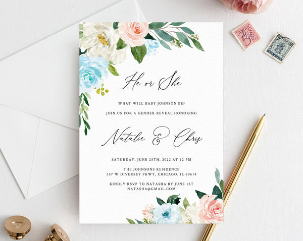 This is a picture of Free Printable Gender Reveal Invitation Templates regarding reveal parties