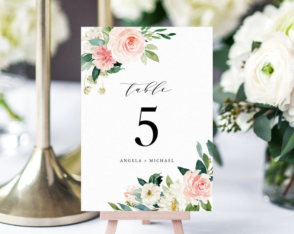 Blush Floral Wedding Table Number Template, Printable Blush Flower Wedding Table Numbers, Blush Wedding Centerpiece, Templett, W29
