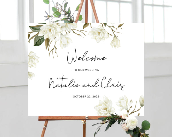 Magnolia Wedding Welcome Sign Template, Welcome to the Wedding Printable, Welcome to our Wedding Board, Instant Download, Templett, W35