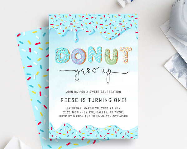 Donut Grow Up Birthday Invitation Template, Donut 1st Birthday Party Invitation, Printable Donut Themed Invite, Instant Download, Templett