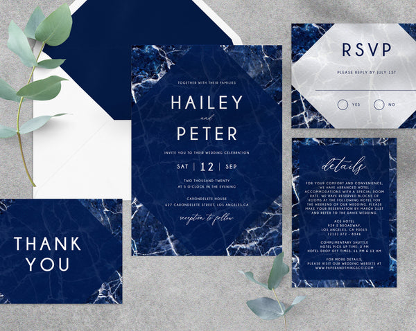 Navy Marble Wedding Invitation Template, Printable Wedding Invitation Suite, Navy Wedding Invitation, Invitation Set, Templett, W38