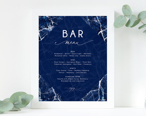 Navy Marble Bar Menu Sign, Wedding Bar Sign, Wedding Bar Menu Printable, Drink Menu Sign, Drinks Sign, Reception Decor, Templett, W38