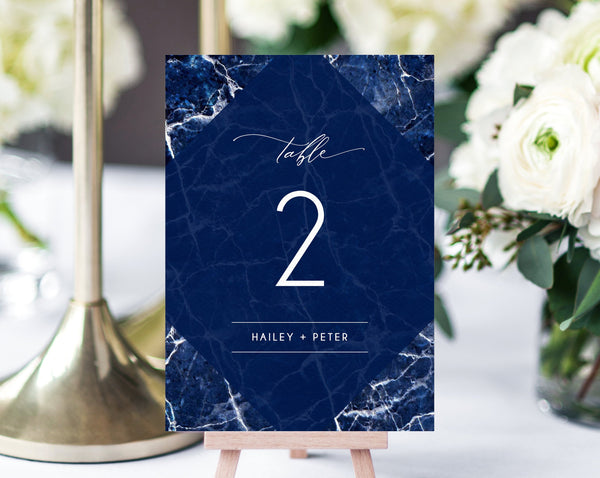 Navy Marble Wedding Table Numbers Template, Printable Navy Wedding Table Numbers, Simple Table Number Card Template, DIY, Templett, W38