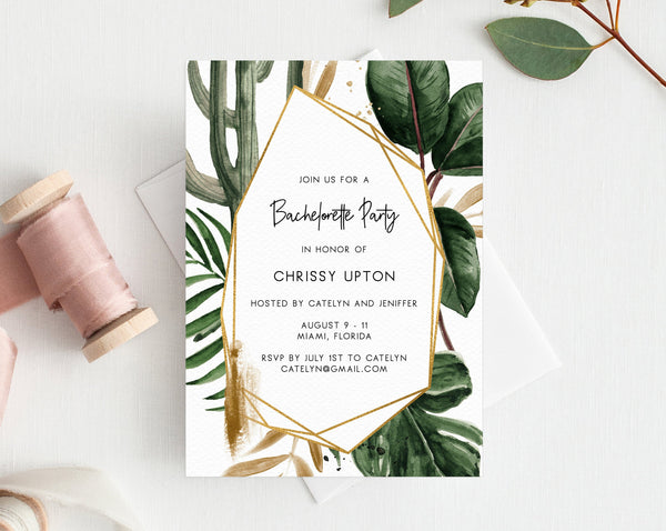 Tropical Bachelorette Invitation Template, Printable Bachelorette Party Invite, Bachelorette Itinerary, Editable Template, Templett, W44
