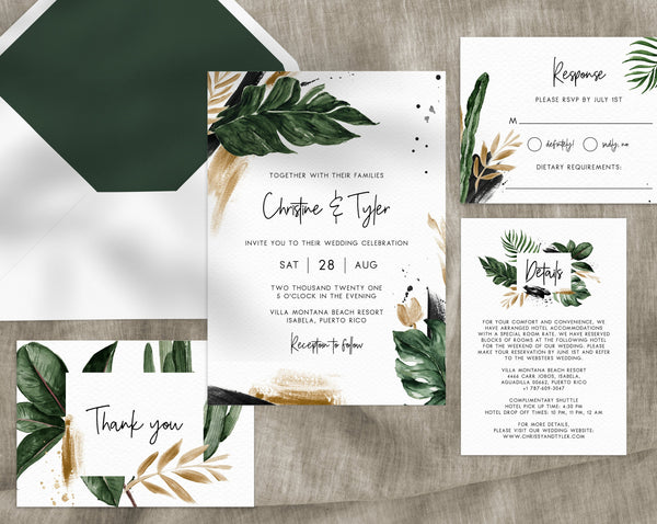 Tropical Wedding Invitation Template Printable Suite Watercolor Palm Leaves Greenery Templett W44