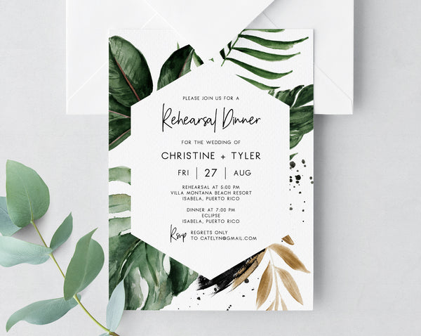 Tropical Rehearsal Dinner Invitation Template, Wedding Rehearsal Invitation, Printable The Night Before Rehearsal Invite, Templett, W44