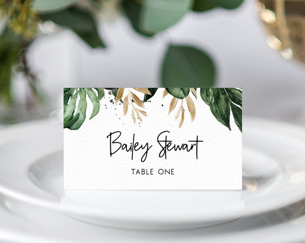 Tropical Wedding Place Cards Template, Seating Card, Wedding Table Cards, Printable Wedding Tent Cards, Instant Download, Templett, W44