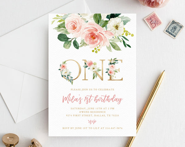 Blush Pink Floral First Birthday Party Invitation Template Printable Baby 1st For Girls Boho Invite One Templett