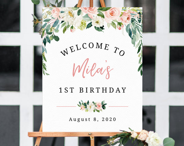 Blush Pink 1st Birthday Welcome Sign Template, Printable First Birthday Welcome Sign, Watercolor Blush Floral Welcome Sign, Templett