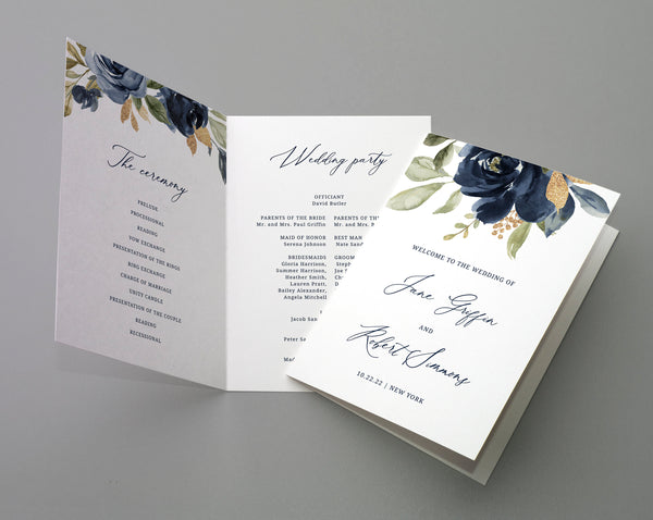 Bi-Fold Navy & Gold Wedding Program Template, Printable Folded Wedding Program Booklet, Editable Navy Floral Wedding Program, Templett, W27