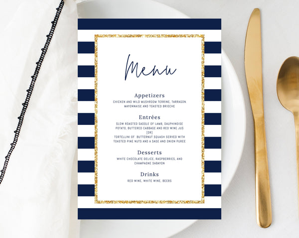 Navy Stripes Baby Shower Menu Template, Printable Baby Shower Dinner Menu, Navy and Gold Menu Card, Sign, Instant Download, Templett, B03