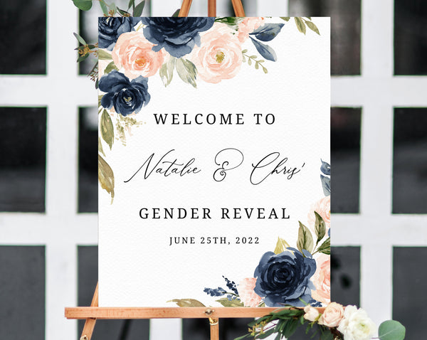 Gender Reveal Welcome Sign Template, Printable Watercolor Navy Blue and Blush Pink Gender Reveal Welcome Sign, Templett, B34