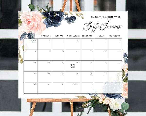 Due Date Calendar Template, Baby Shower Calendar, Baby Due Date Game, Printable Baby Birthday Predictions, Guess The Due Date, Templett, B34