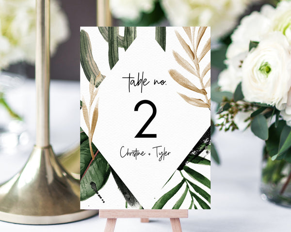 INSTANT DOWNLOAD Wedding Table Numbers, Printable Wedding Table Numbers, Tropical Table Numbers Card Template, Palm Leaves, Templett, W44