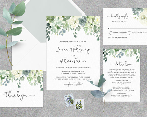 Succulent Wedding Invitation Template, Printable Wedding Invitation Suite, Watercolor Succulent Wedding Invitation, Greenery, Templett, W40