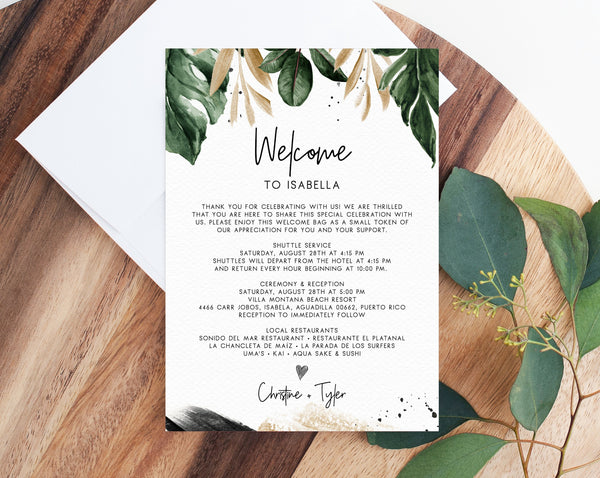 Tropical Welcome Letter Template, Wedding Itinerary Card, Welcome Bag Letter, Wedding Agenda, Printable Hotel Welcome Note, Templett, W44