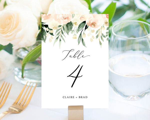 Peach Floral Wedding Table Number Template, Printable Blush Flower Wedding Table Numbers, Blush Wedding Centerpiece, Templett, W41