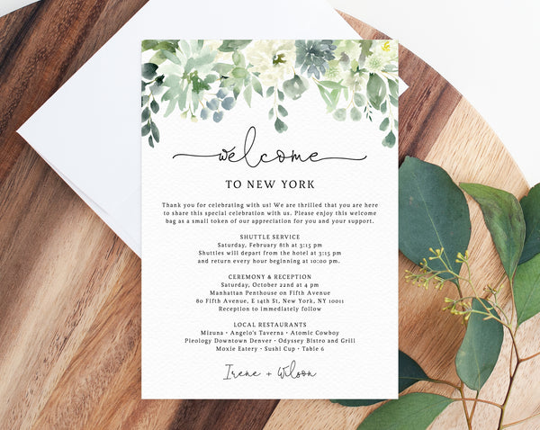 Welcome Letter Template, Wedding Itinerary Card, Greenery Welcome Bag  Letter, Wedding Agenda, Printable Hotel Welcome Note, Templett, W40