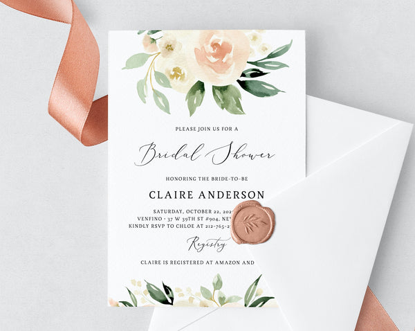 Bridal Shower Invitation Template, Printable Bridal Shower Invite, Blush Bridal Invitation, Peach Floral Bridal Shower Invite, Templett, W41