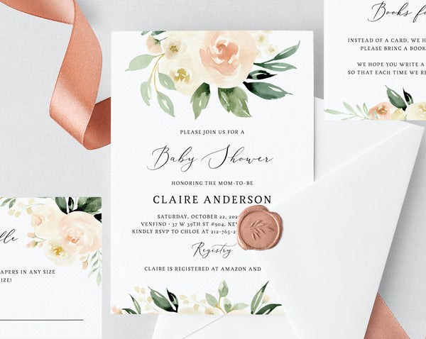 Peach Floral Baby Shower Invitation Template, Printable Baby Shower Invite, Blush Baby Shower Invitation, Templett, B41