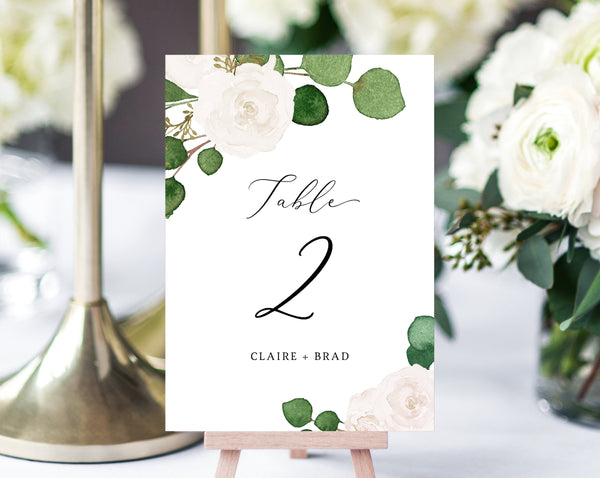 White Floral Wedding Table Number Template, Printable Eucalyptus Wedding Table Numbers, Greenery Wedding Centerpiece, Templett, W42